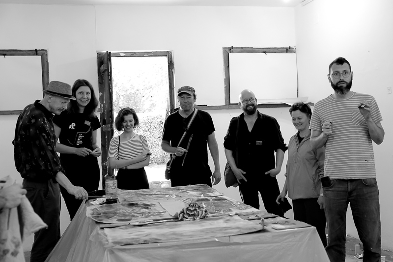 Painting workshop by Gideon Smilansky from Artist-Run Alliance at AIM Planning meeting in Plovdiv, 2018, photo_ Mariko Hori