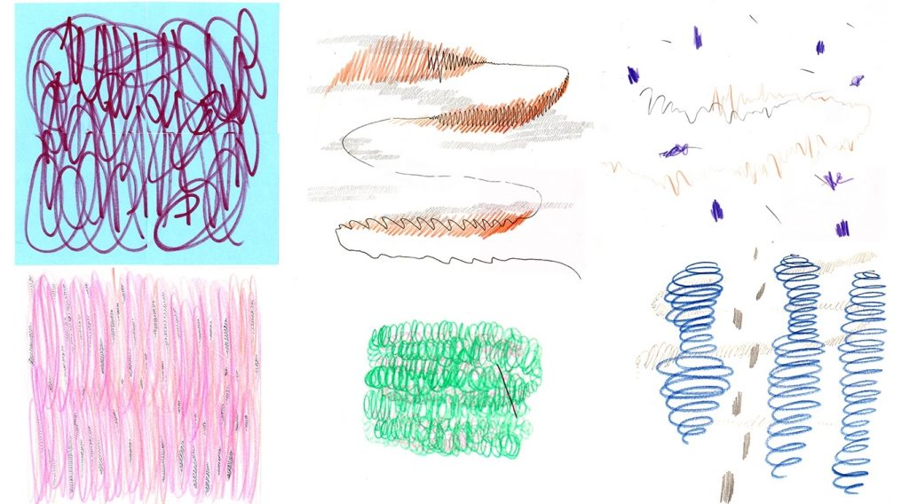 An image of two rows of three small, square drawings each. The top left drawing has a blue background and purple squiggly lines on it. The top middle drawing shows a black curved line with brown shading on it and grey shadow-like shapes. The top right drawing shows various purple dot-like shapes and brown and black squiggly lines. The bottom left drawing is a square coloured in pink with some light orange and blue in it. The bottom middle drawing is a small rounded square-like shape in green made up of circular strokes. The bottom right image shows three blue swirly shapes that emulate a tornado shape. There are small grey dot-like shapes in between the left and middle swirly shapes.