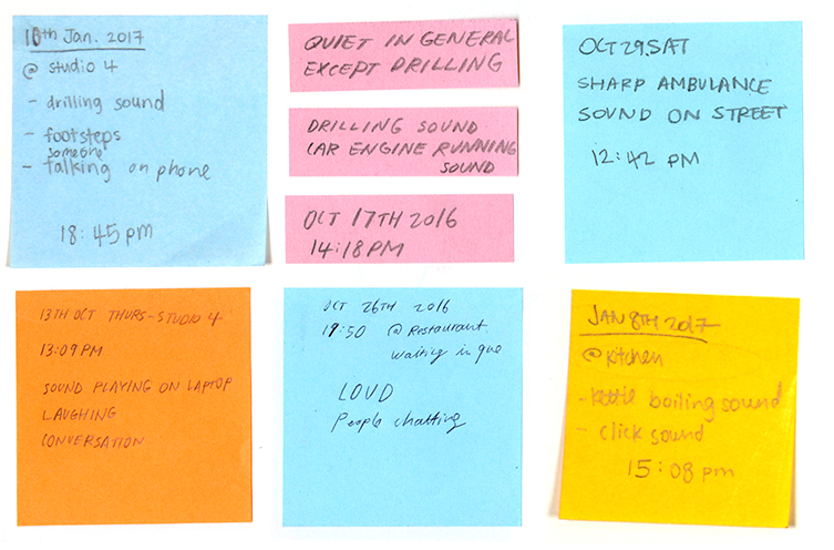An image of two rows of three square post-it notes with various writing on them. The top middle post-it note is split horizontally into three pieces. The top left, top right and bottom middle post-it notes are blue. The top middle post-it notes are pink. The bottom left post-it note is orange. The bottom right post-it note is yellow.